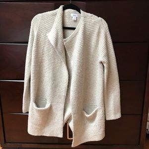 Women's Round-Neck Sweater Jacket with Pockets